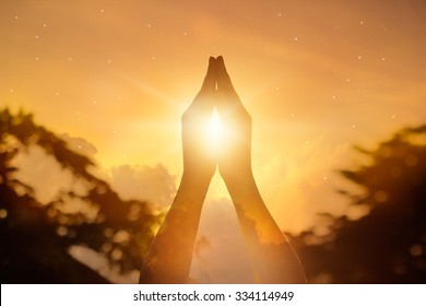 Respect and pray on nature background