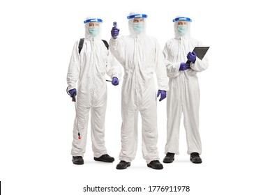 Response team in hazmat suits with protective equipment isolated on white background