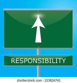 Responsibility Sign Illustration - Green road sign with arrow pointing onwards