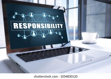 Responsibility text on modern laptop screen in office environment. 3D render illustration business text concept.