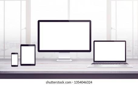 Responsive display devices mockup. Work desk, web design studio. Isplated display for web design promotion.