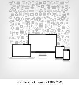 Responsive web design. Adaptive user interface. Digital devises. Laptop, tablet, monitor, smartphone. Web site template concept. Application web icons.