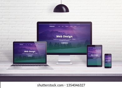 Responsive web site on multiple different display devices. Concept of web design, development work desk.