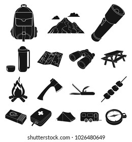 Rest in the camping black icons in set collection for design. Camping and equipment bitmap symbol stock web illustration.