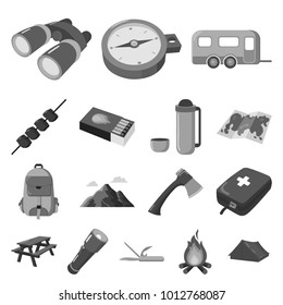 Rest in the camping monochrome icons in set collection for design. Camping and equipment bitmap symbol stock web illustration.