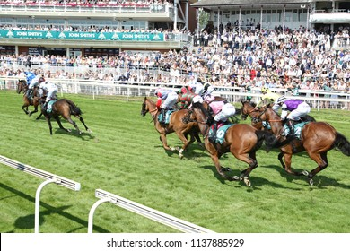 The rest of the field finish the race in front of a large crowd in the 59th John Smiths Cup at York Races : The Knavesmire, York Racecourse, Nth Yorkshire, UK : 14 July 2018 : Pic Mick Atkins