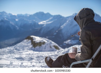 rest in the winter in the mountains