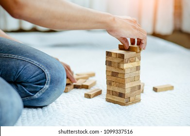 restart wood block tower. Failure and then restart.