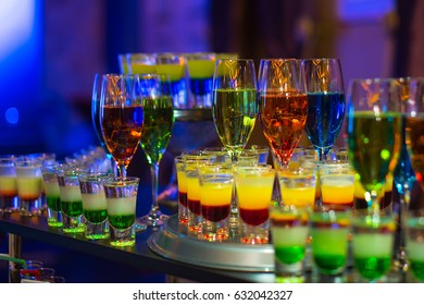 restaurant background at wedding party with set of cocktails soft and long drinks