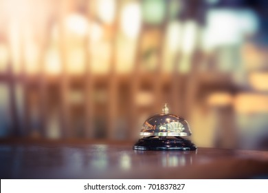 Restaurant bell vintage with blurred background