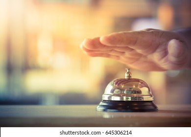 Restaurant bell vintage with hand. The bell of a psychologist