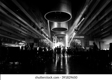 restaurant black and white photo.ballroom black and white photo.wedding party people dance in wedding party black photo