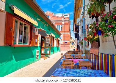 Restaurant central street of Novi Sad summer view, Vojvodina region of Serbia