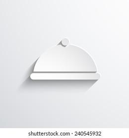 restaurant cloche web flat icon illustration.
