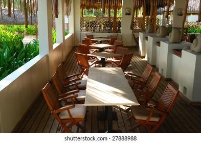 Restaurant deck in luxury hotel