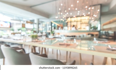 Restaurant dininng table blur background in luxury hotel food and beverage F&B facility with blurry bar bistro counter for coffee shop and cafe drink catering service