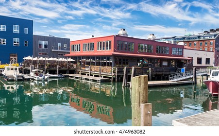 Restaurant and docks in Old Port, Portland, Maine