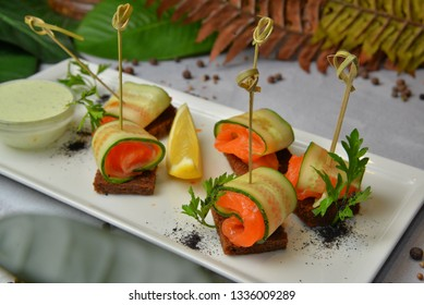 Restaurant Food - Delicious Delicious homemade smoked salmon gluten free canape Gourmet Italian Restaurant Menu - Image