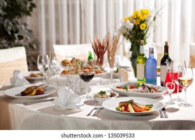 Restaurant Food - Salmon Steak and Goose Legs