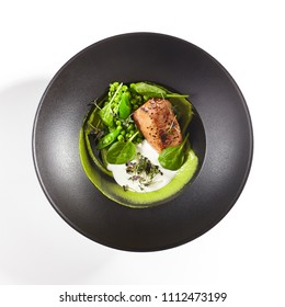Restaurant Food - Salmon Steak with Green Peas. Top View