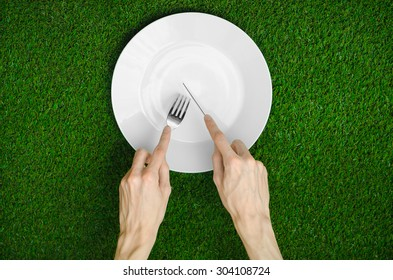 Restaurant and fresh fruit and vegetables on the nature theme: the human hand shows the plate on a background of green grass top view