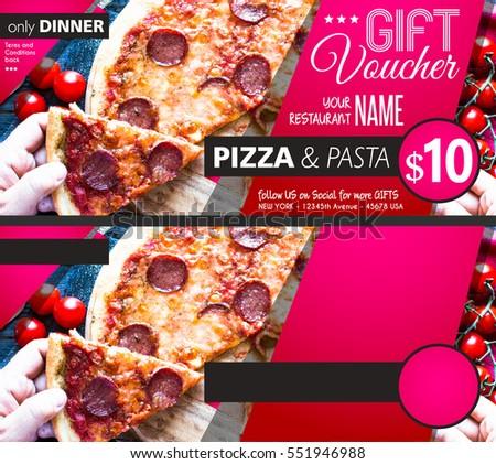 Restaurant Gift Voucher Flyer Template Delicious Stock Photo Edit