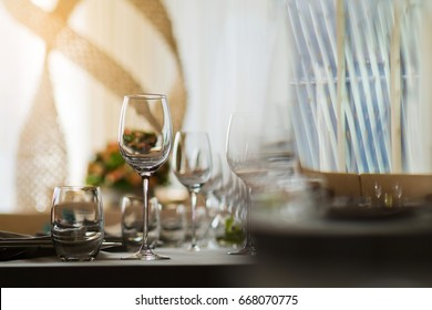 restaurant glass of water on table