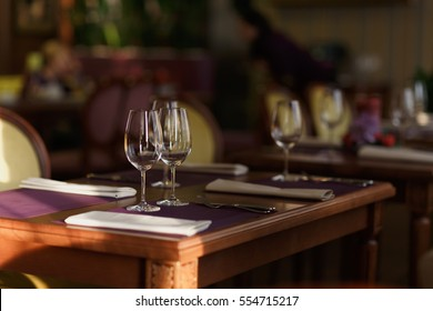 restaurant hall with a glass on the table