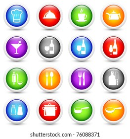 Restaurant Icon on Reflective Button Collection Original Illustration