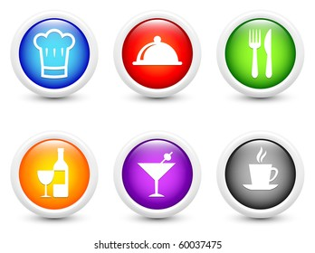 Restaurant Icon on Simple Round Button Collection Original Illustration
