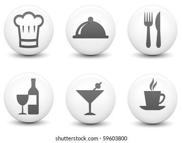 Restaurant Icons on Round Black and White Button Collection Original Illustration