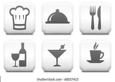Restaurant Icons on Square Black and White Button Collection Original Illustration