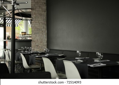 restaurant interior background, dark wall