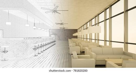 restaurant interior design 3d illustration