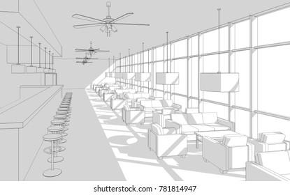 restaurant interior design sketch 3d illustration