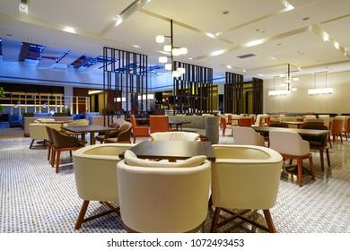 Restaurant interior in luxury hotel
