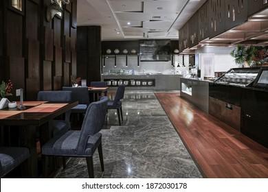Restaurant Interieur, Teil des Hotels.