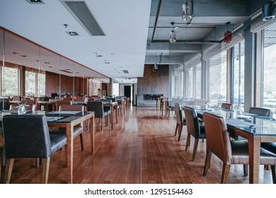 Restaurant interior, part of hotel, Asian Zen style design.