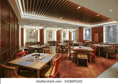 Restaurant interior, part of hotel, Asian Zen&Chinese style design.
