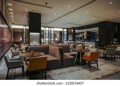 Restaurant interior, part of office