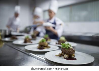 Restaurant Kitchen, behind the scenes, dinner's ready to eat, good cuisine, masterchef