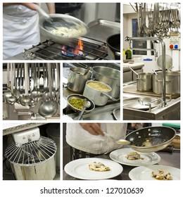 Restaurant kitchen collage