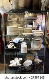 Restaurant kitchen dishwasher area