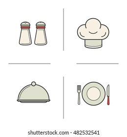 Restaurant kitchen equipment color icons set. Salt and pepper shakers, chef's hat, covered dish. Fork, knife and plate. Tableware. Raster isolated illustrations