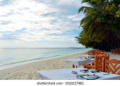 Restaurant in Maldives on the beach