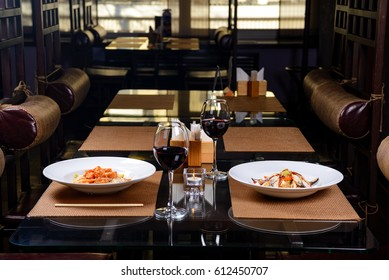 Restaurant, meal, red wine