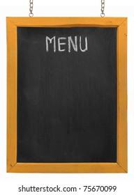 Restaurant menu board on blackboard. isolated over white background