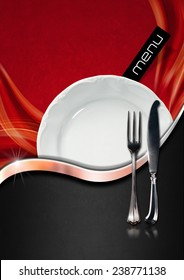 Restaurant Menu Design. Red and black velvet background with soft waves and gray metal wave, empty white plate and cutlery. Template for a elegant food menu