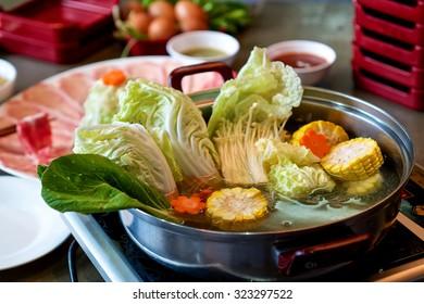 Restaurant menu in sukiyaki pot. Shabu.