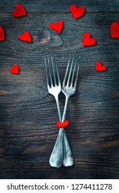 Restaurant menu. Valentines day dinner with table setting in rustic wood style with cutlery